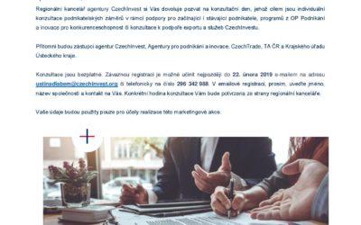 Konzultační den agentur CzechInvest, API, CzechTrade a Krajského úřadu Ústeckého kraje