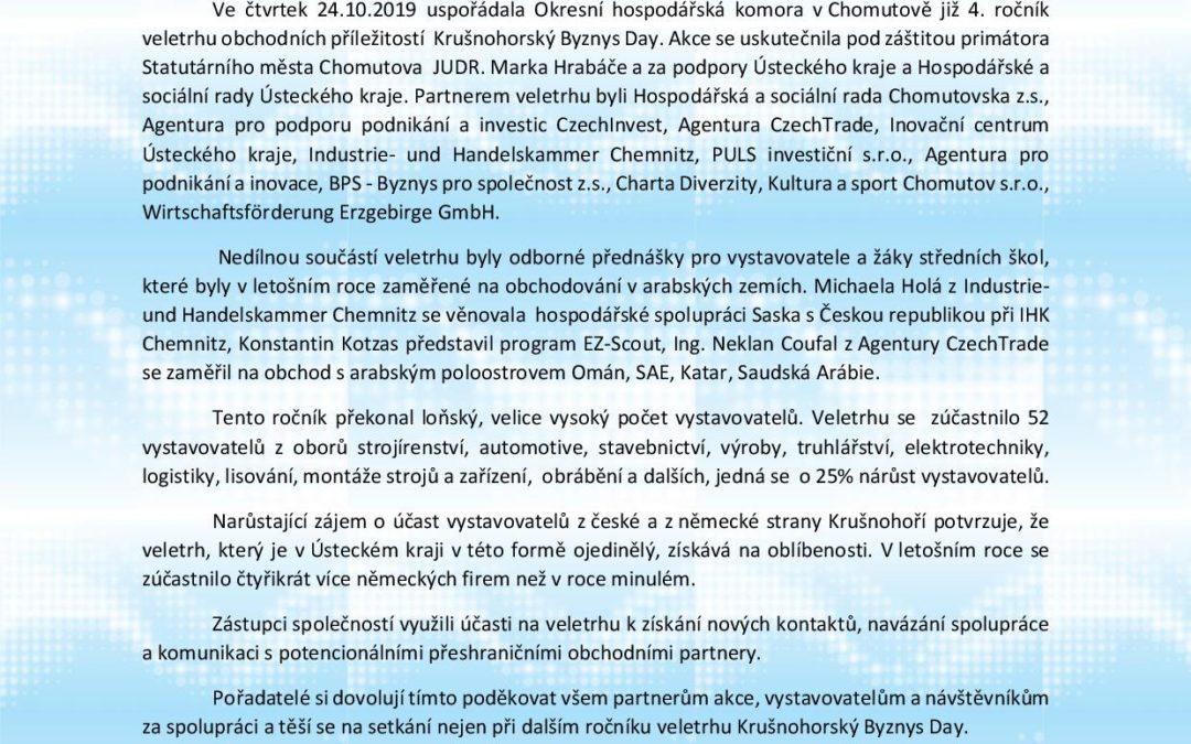 Tisková zpráva Krušnohorský Byznys Day